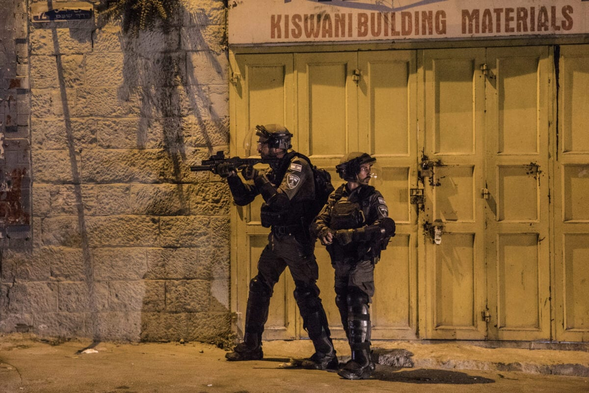 Israeli police patrol during an altercation between them and Palestinian protesters on Nablus Street in East Jerusalem on May 10, 2021 in Jerusalem, Israel. [Laurent Van Der Stockt/Getty Images]