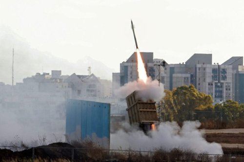 Israel's Iron Dome aerial defence system is launched to intercept a rocket launched from the Gaza Strip, above the southern Israeli city of Ashdod, on May 17, 2021 [AHMAD GHARABLI/AFP via Getty Images]