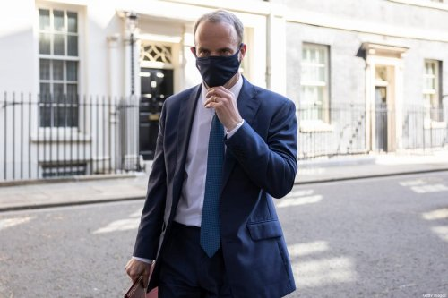 LONDON, ENGLAND - APRIL 27: Britain's Foreign Secretary Dominic Raab leaves 10 Downing Street after the weekly cabinet meeting on April 27, 2021 in London, England. (Photo by Dan Kitwood/Getty Images)