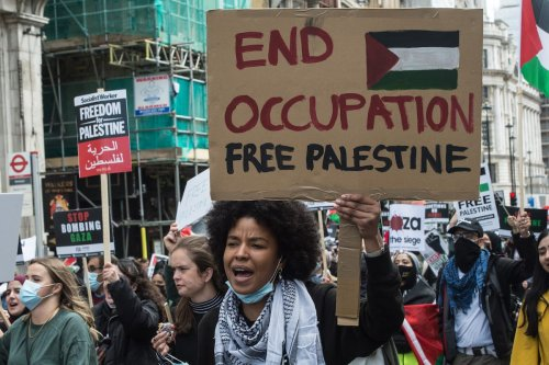 A demonstration in solidarity with the Palestinian people on May 22, 2021 in London, England [Guy Smallman/Getty Images]