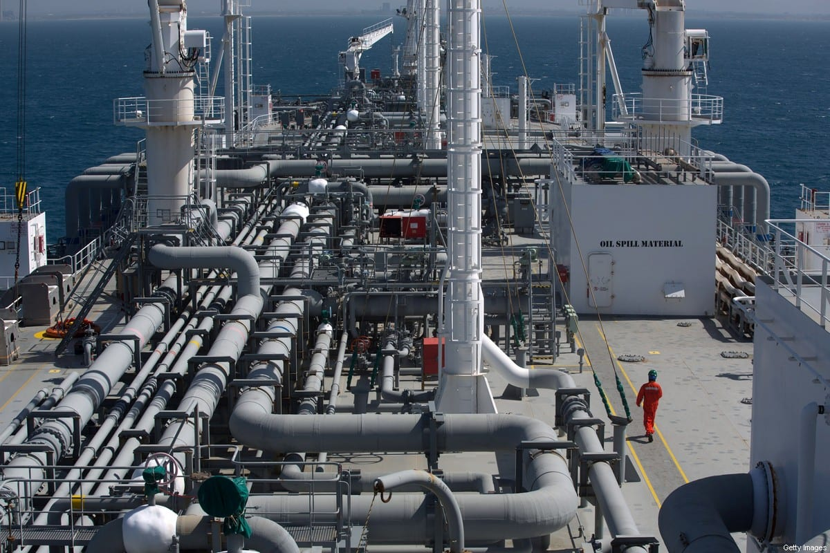 The Expedient regasification ship is anchored off the coast of Israel in the Mediterranean Sea on February 26, 2015 as natural gas began flowing from the vessel, hired by the Israel Electric Corporation, to its power stations [MENAHEM KAHANA/AFP via Getty Images]