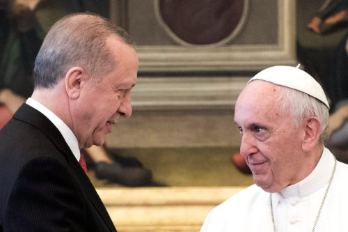 Pope Francis meets President of Turkey Recep Tayyip Erdogan at the Apostolic Palace on February 5, 2018 in Vatican City, Vatican [Vatican Pool/Getty Images]