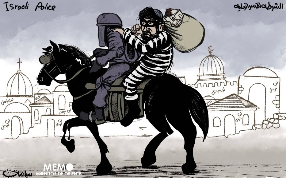 Israeli police support Israeli settlers in their theft of Palestinian homes in Jerusalem