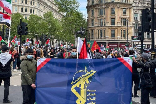 Iran's IRGC flag at a Palestine solidarity march in London on 22 March 2021 [JakeWSimons/Twitter]
