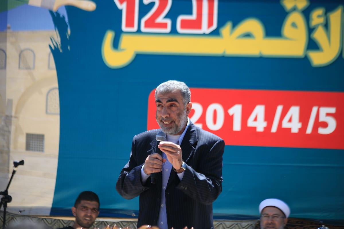 Deputy head of the Islamic Movement, Sheikh Kamal Khatib speaks during a festival for Al- Aqsa child in Jerusalem, on 5 April 2014. [Saeed Qaq/Apaimages]