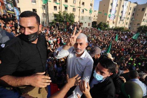 Hamas' Gaza chief Yahya Sinwar attends the parade of the Ezzeddin al-Qassam Brigades, the armed wing of Palestinian group Hamas, in Gaza City, Gaza on 30 May 2021. [Ashraf Amra - Anadolu Agency]
