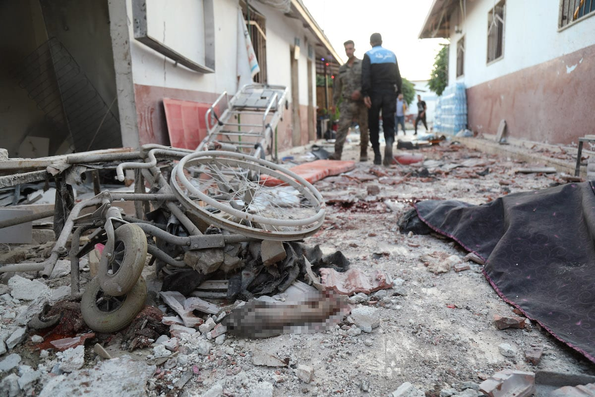 AFRIN, SYRIA - JUNE 12: A view of the damaged site after an attack by PKK, (listed as a terrorist organization by Turkey, the U.S. and the EU), and YPG militia, (which Turkey regards as a terror group), on a hospital in northwestern Syria, killed at least 13 civilian patients and injured more than 27, in Syria's Afrin on June 12, 2021. ( Ömer Alven - Anadolu Agency )