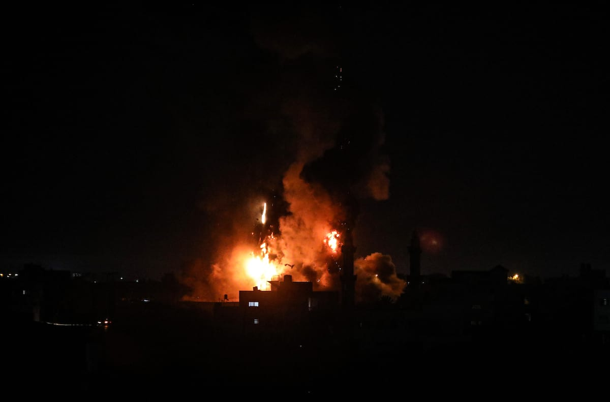 Flames are seen after an Israeli air strike hit Gaza City, Gaza on 15 June 2021 [Ali Jadallah/Anadolu Agency]