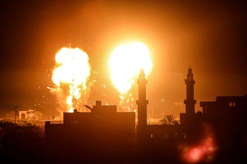 Flames are seen after an Israeli air strike hit targets in Gaza City, Gaza on 15 June 2021 [Ali Jadallah / Anadolu Agency]