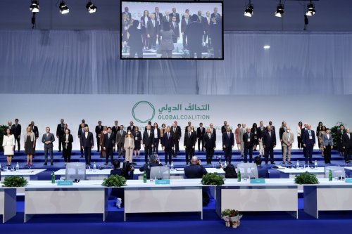 ROME, ITALY - JUNE 28: Participants take part in family photo ceremony of the Ministerial Meeting of the Global Coalition to Defeat DAESH in Rome, Italy on June 28, 2021. ( Fatih Aktaş - Anadolu Agency )