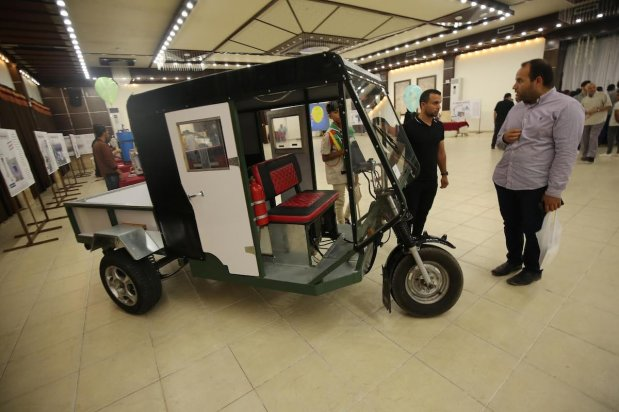 Palestinians in Gaza showcase innovative creations which will help improve their lives under siege and overcome the limitation of the closures imposed on them by the occupation [Mohammed Asad/Middle East Eye]