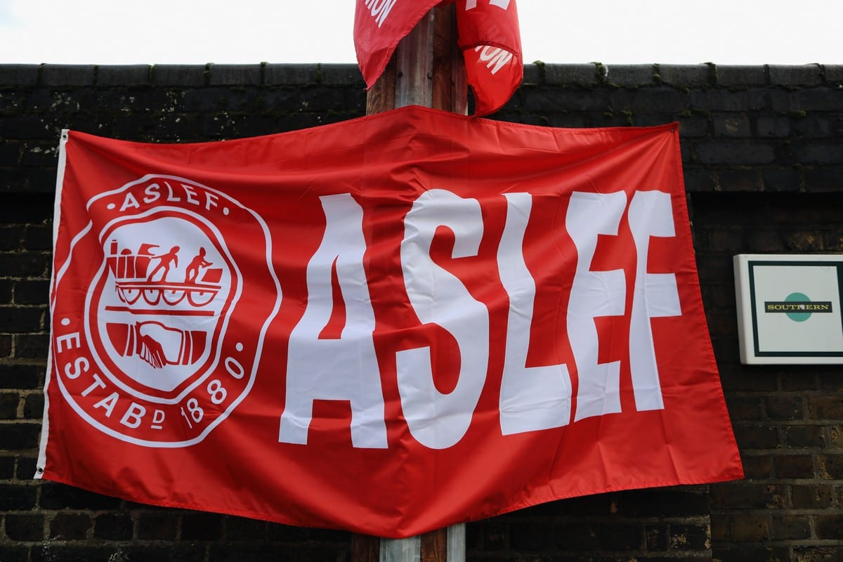 ASLEF banner in London, UK on 13 December 2016 [Dan Kitwood/Getty Images]