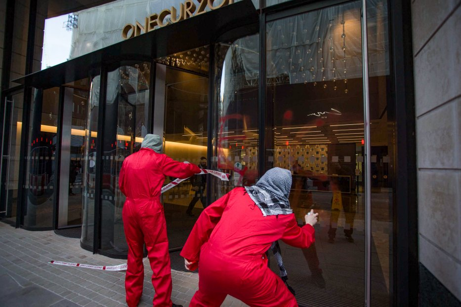 Palestine Action targets the landlords of Israel's biggest arms chain, drenching the LaSalle London headquarters in blood-red paint on 9 June 2021 [Pal_action/Twitter]