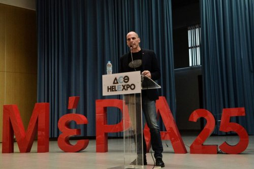 Yianis Varoufakis, leader of the anti-establishment European Realistic Disobedience Front (MeRA25) movement, on May 15, 2019 [SAKIS MITROLIDIS/AFP via Getty Images]