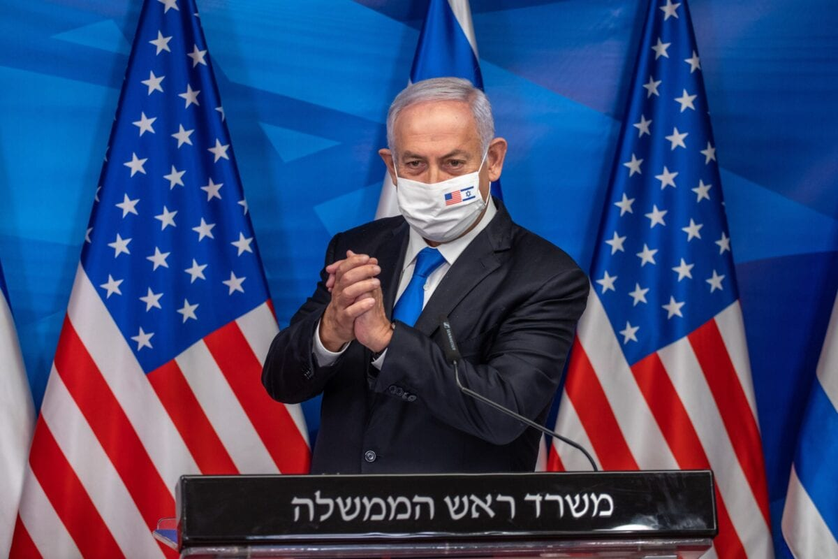 Former Israeli Prime Minister Benjamin Netanyahu gives a statement after meeting with the US secretary of treasury in Jerusalem, on January 7, 2021 [EMIL SALMAN/POOL/AFP via Getty Images]