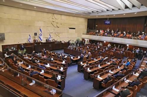 A general view shows the swearing-in ceremony of Israel's Knesset (parliament) in Jerusalem, on April 6, 2021 [ALEX KOLOMOISKY/POOL/AFP via Getty Images]