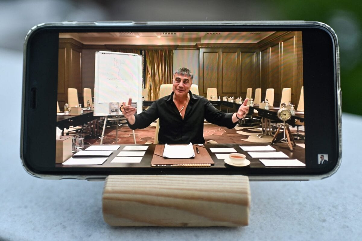 A photograph taken on May 26, 2021 in Istanbul shows on a mobile phone Sedat Peker speaking on his youtube channel [OZAN KOSE/AFP via Getty Images]