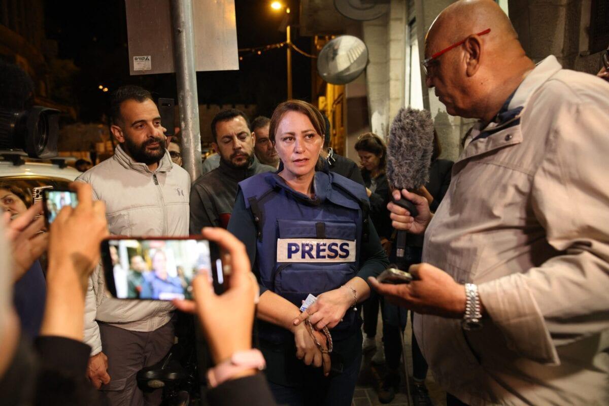 Al Jazeera journalist, Givara Budeiri, is seen after her release from a police station in East Jerusalem, on June 6, 2021 [AHMAD GHARABLI/AFP via Getty Images]