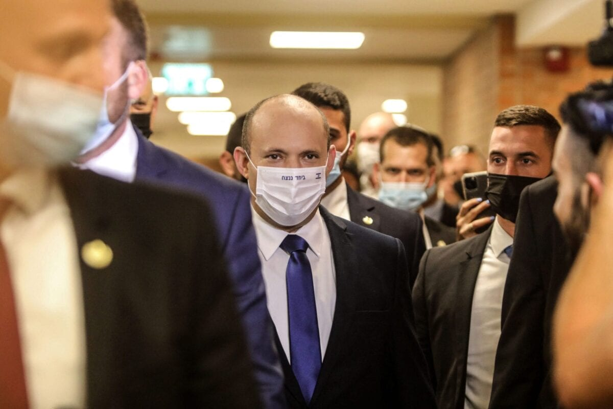 Naftali Bennett, Israeli parliament member from the Yamina party, arrives to attend a parliamentary meeting at the Knesset in Jerusalem, ahead of a vote on a new government, on June 13, 2021 [GIL COHEN-MAGEN/AFP via Getty Images]