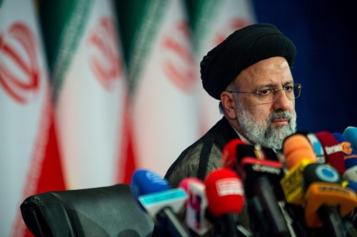 Ebrahim Raisi, Iran's president, holds his first news conference following his victory in the presidential election in Tehran, Iran, on Monday, June 21, 2021 [Ali Mohammadi/Bloomberg via Getty Images]