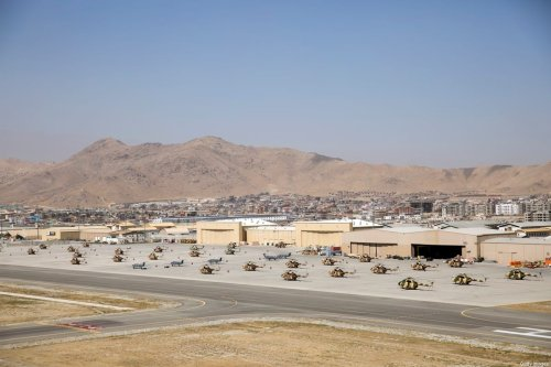 Helicopters sit on the tarmac at Kabul Airport on October 3, 2014 in Kabul, Afghanistan [Dan Kitwood - Pool/Getty Images]