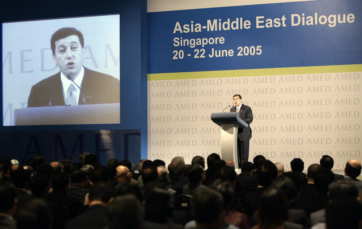 Former Jordan Minister of Finance Bassem Awadallah delivers a keynote address on behalf of King Abdullah at the Asia-Middle East Dialogue in Singapore, 21 June 2005. [ROSLAN RAHMAN/AFP via Getty Images]
