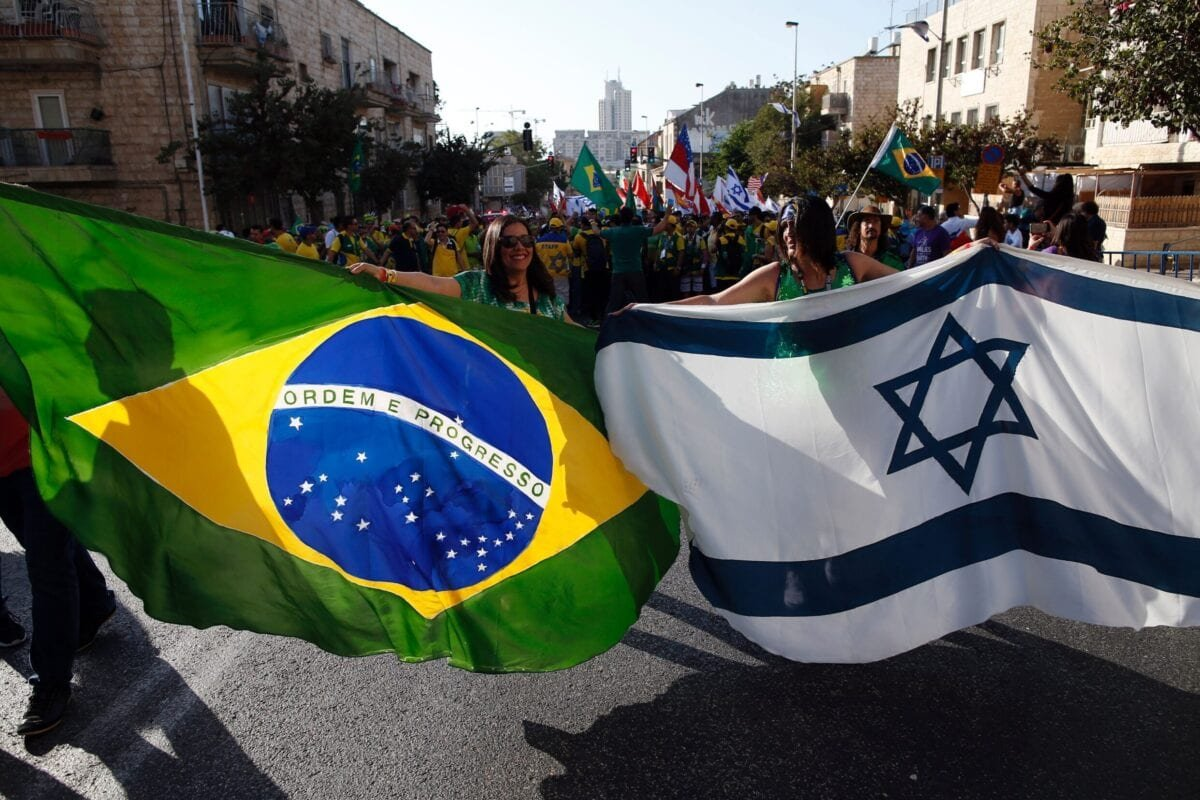 Evangelical Christians from Brazil march during the annual Jerusalem Parade on October 20, 2016 in the streets of Jerusalem [AHMAD GHARABLI/AFP via Getty Images]
