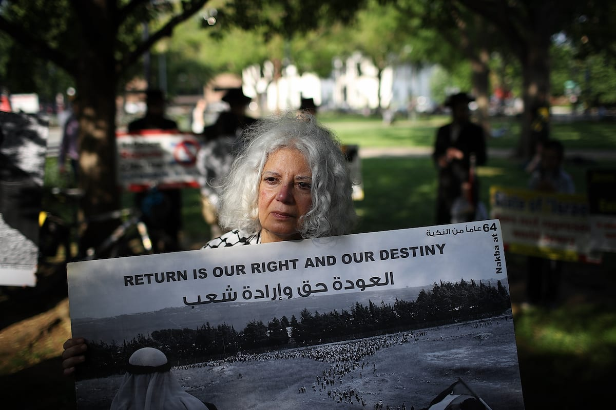 Supporters of Palestinian rights protest in Dupont Circle May 15, 2018 in Washington, DC. [Win McNamee/Getty Images]