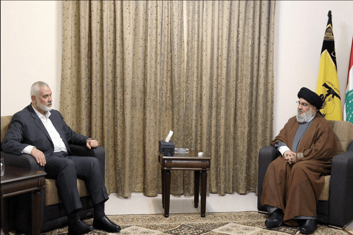 The Head of the political bureau of the Palestinian Islamic Resistance Movement, Ismail Haniyeh, met with Hezbollah Secretary General Sayyed Hassan Nasrallah on 29 June 2021 [@MiddleastN/Twitter]