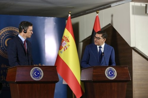 Libyan Prime Minister Abdul Hamid Dbeibeh (R) makes a speech as he holds a joint press conference with Spanish Prime Minister Pedro Sanchez Perez-Castejon in Tripoli, Libya on June 3 2021 [Hazem Turkia/Anadolu Agency]