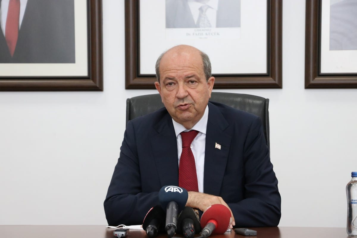 Turkish Cypriot President Ersin Tatar in Nicosia, Turkish Republic of Northern Cyprus on 24 June 2021 [Ali Ruhluel/Anadolu Agency]