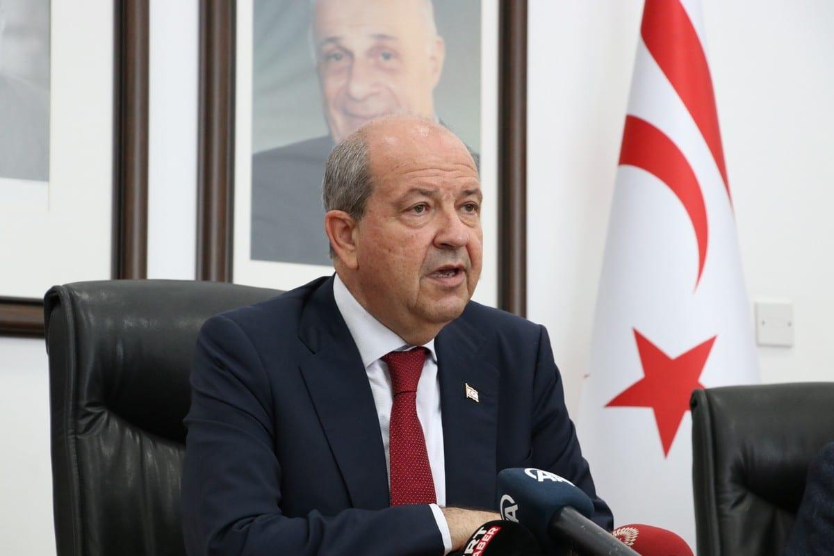 Turkish Cypriot President Ersin Tatar in Nicosia, Turkish Republic of Northern Cyprus on June 24, 2021 [Ali Ruhluel/Anadolu Agency]