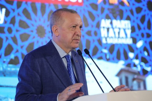 Turkish President and leader of Justice and Development (AK) Party Recep Tayyip Erdogan in southern Hatay province, Turkey on June 25, 2021. [Murat Kula - Anadolu Agency]
