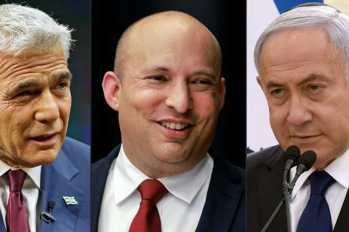 Yair Lapid of the Yesh Atid (There Is a Future) party speaking during an interview in Jerusalem on March 7, 2021; Naftali Bennett of the Yamina (Right) party speaking to reporters at a conference in Jerusalem on March 15, 2021; and Israeli Prime Minister Benjamin Netanyahu of the Likud party speaking during a ceremony marking Yom HaZikaron, Israel's Memorial Day, in Jerusalem on April 13, 2021. [GIL COHEN-MAGEN,MENAHEM KAHANA,DEBBIE HILL/POOL/AFP via Getty Images]