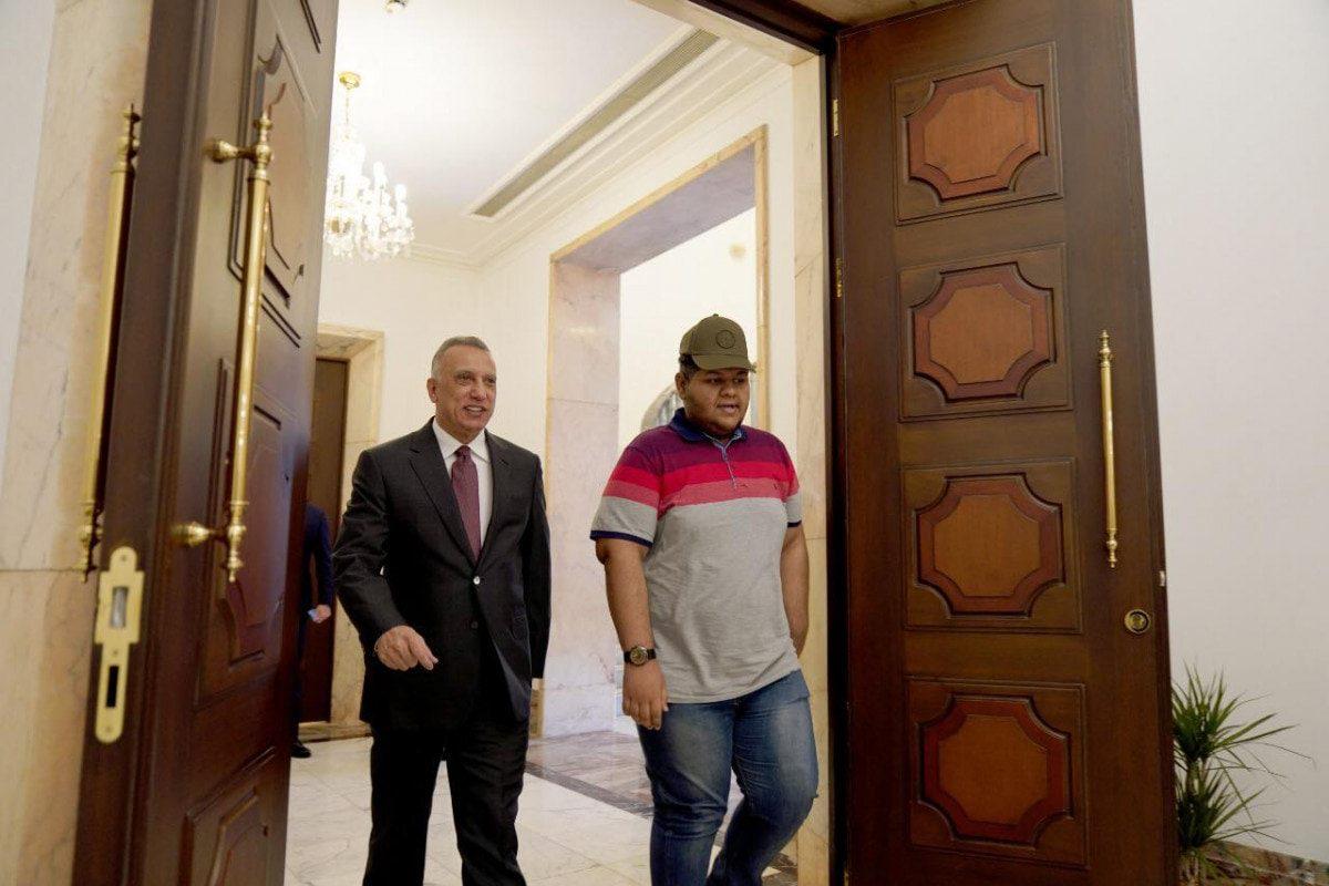 Iraqi Prime Minister Mustafa Al-Kadhimi meets Iraqi teen social media influencer Ali Adil on 21 July 2021 [aliadil.official/Instagram]