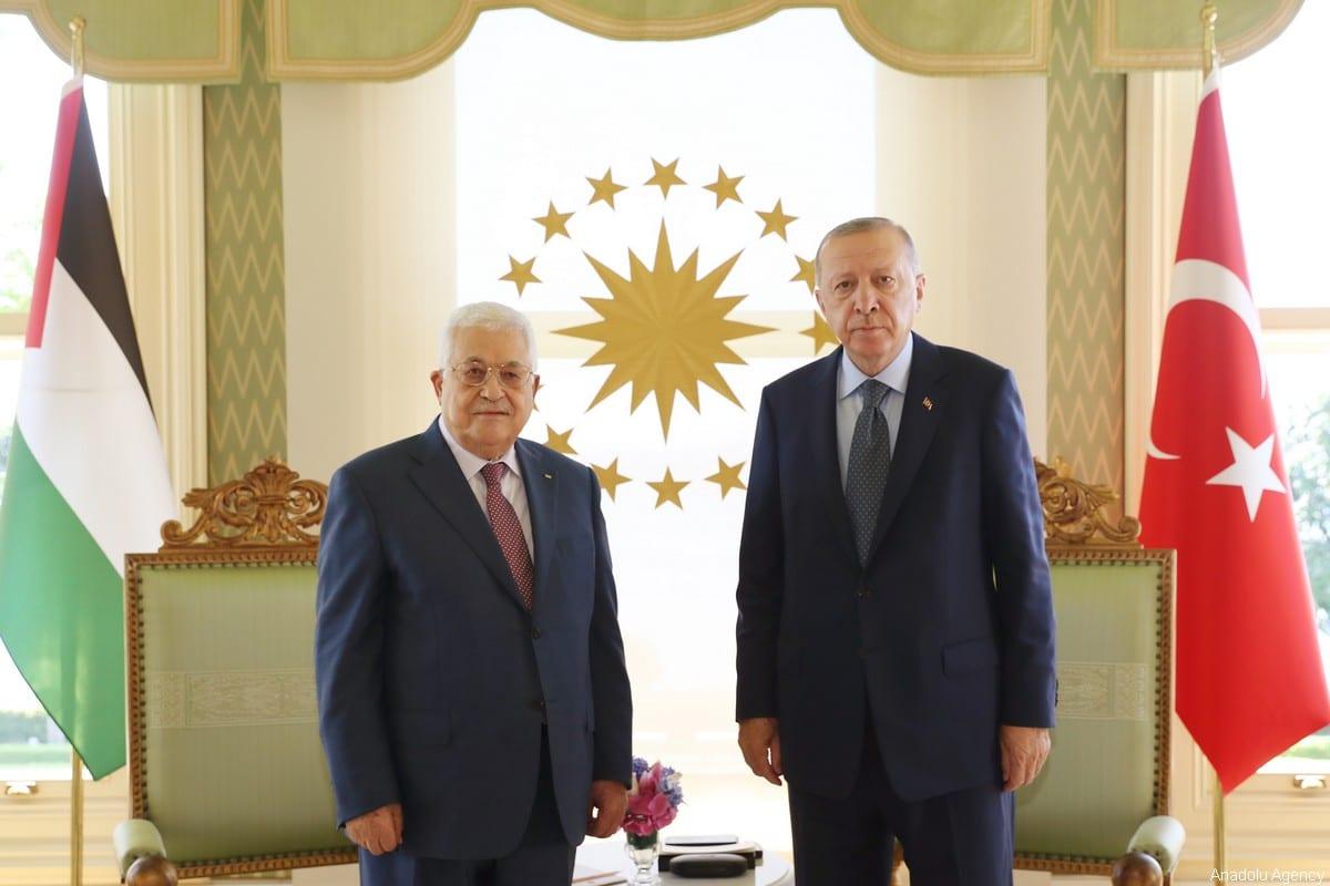Turkish President Recep Tayyip Erdogan meets Palestinian President Mahmoud Abbas at Vahdettin Mansion on July 10, 2021 in Istanbul, Turkey [TUR Presidency/Murat Cetinmuhurdar - Anadolu Agency]