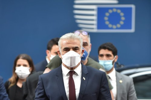 Israeli Foreign Minister Yair Lapid in Brussels, Belgium on 12 July 2021 [European Council/Anadolu Agency]