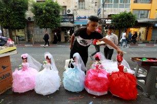 People go shopping ahead of the Eid al-Adha in Ramallah, West Bank on July 19, 2021 [Issam Rimawi/Anadolu Agency]