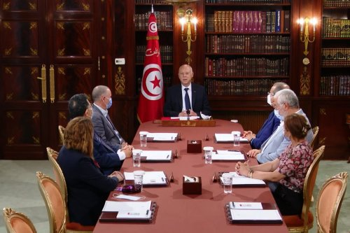 A screen grab captured from a video on July 26, 2021, shows Tunisian President Kais Saied meets union leaders in Tunis, Tunisia. [Tunisian Presidential Image - Anadolu Agency]
