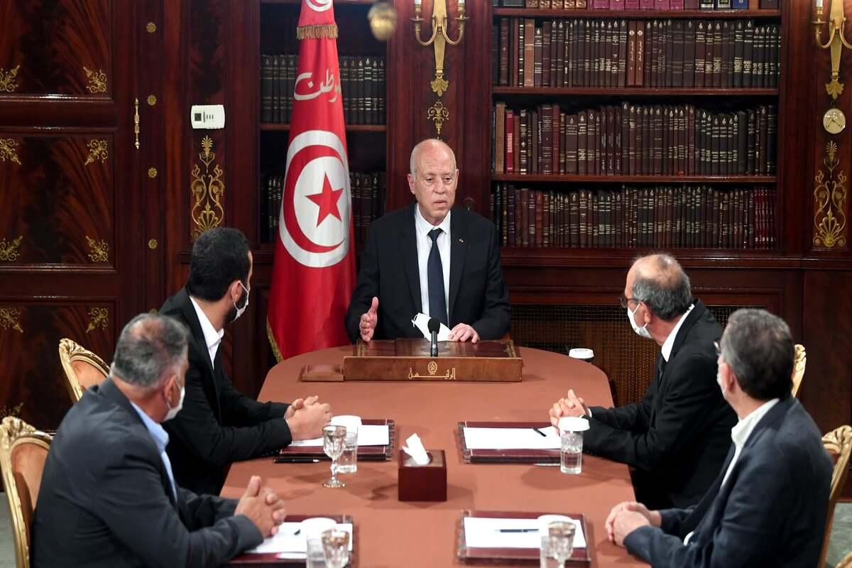 Tunisian President Kais Saied in Tunis, Tunisia on July 27, 2021 [Tunisian Presidency/Anadolu Agency]