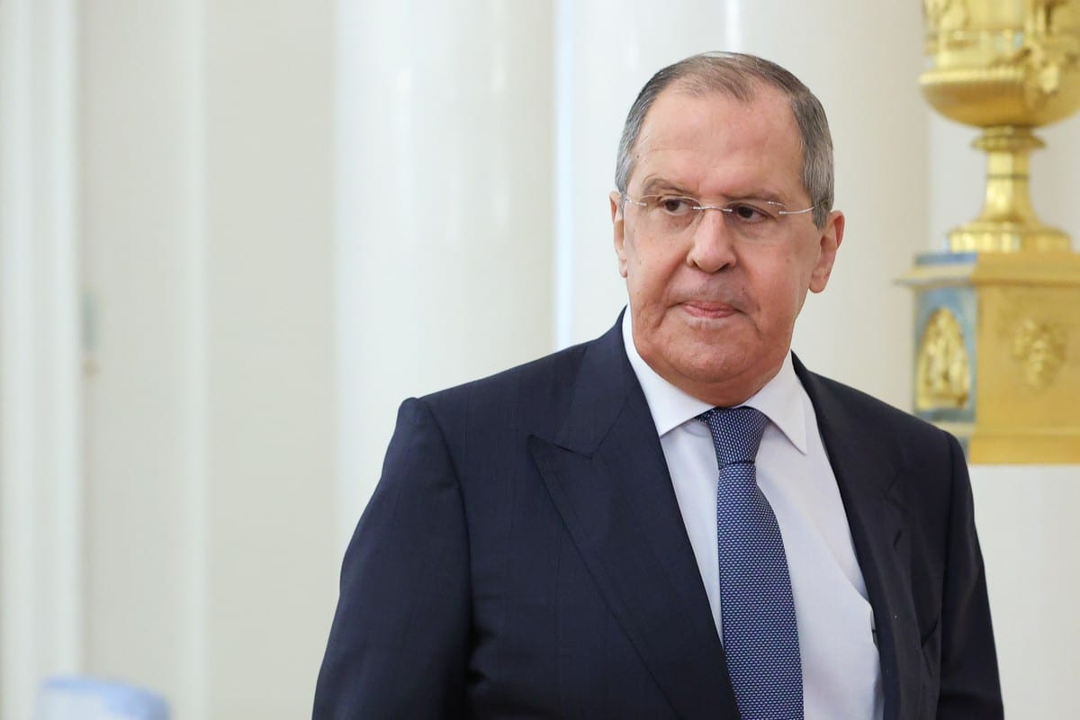 Russian Foreign Minister Sergey Lavrov meets Bahraini Foreign Minister Abdullatif bin Rashid al-Zayani (not seen) in Moscow, Russia on July 2, 2021. ( Russian Foreign Ministry - Anadolu Agency )