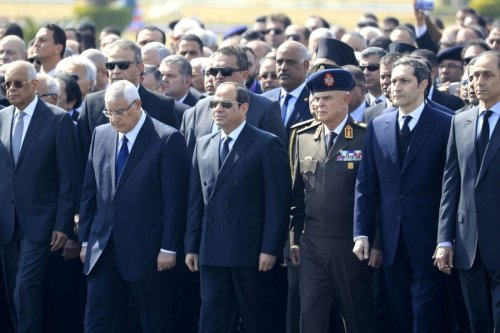 Egypt's Parliament Speaker Ali Abdel-Aal, former interim president Adly Mansour, incumbent President Abdel Fattah al-Sisi, Armed Forces Chief of Staff Lieutenant General Mohamed Farid, and the sons of of Egypt's former president Hosni Mubarak, Alaa and Gamal, attend Mubarak's funeral ceremony at Cairo's Field Marshal Hussein Tantawi mosque in the eastern outskirts of the Egyptian capital before the funeral on February 26, 2020 [KHALED DESOUKI/AFP via Getty Images]