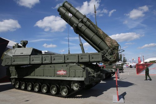 The BUK-3M Russian air defence missile system at the International Military Technical Forum Army-2020, on 23 August 2020, at the Patriot Park, in Kubinka, 40 km. west of Moscow, Russia. [Mikhail Svetlov/Getty Images]