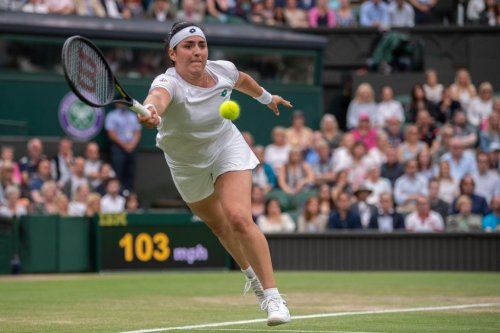 Ons Jabeur of Tunisia plays at Wimbledon 2021 at All England Lawn Tennis and Croquet Club on July 06, 2021 in London, England [AELTC/Florian Eisele - Pool/Getty Images]