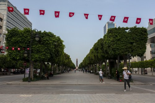 Habib Burgiba street remains silent after Tunisian President Kais Saied announced late Sunday that he has fully assumed executive authority in addition to suspending parliament in Tunis, Tunisia on 27 July 2021. [Arif Hüdaverdi Yaman - Anadolu Agency]