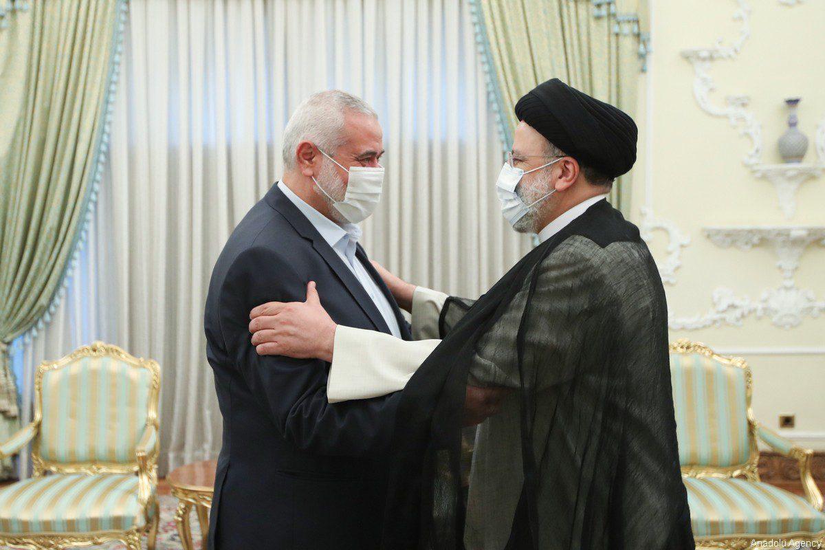 Iranian President Ebrahim Raisi (R) meets with Hamas political chief Ismail Haniyeh (L) in Tehran, Iran on August 06, 2021 [Iranian Presidency / Handout - Anadolu Agency]
