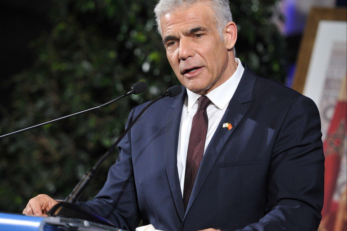 Israeli Foreign Minister Yair Lapid holds a press conference in Casablanca, Morocco on August 12, 2021 [Jalal Morchidi/Anadolu Agency]