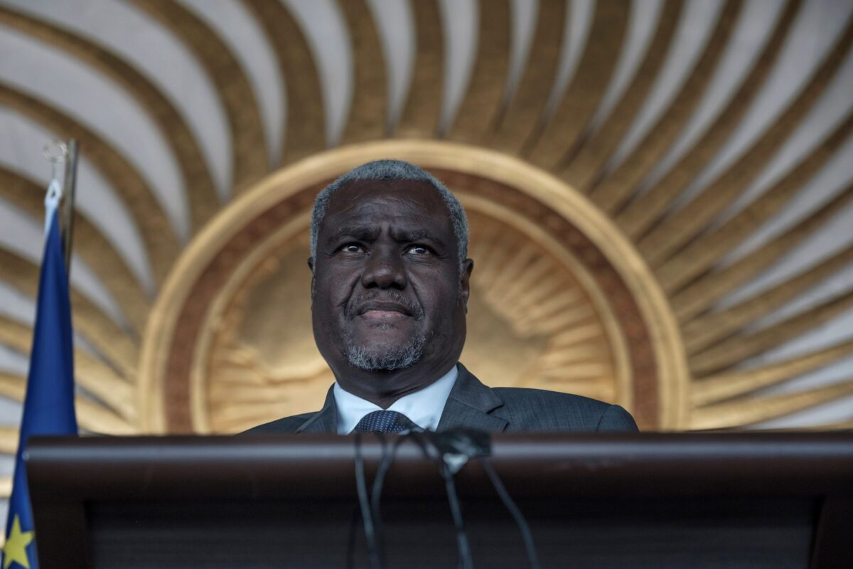 The Chairperson of the African Union, Moussa Faki Mahamat speaks during a briefing to the press, during the visit of the President of the European Commission in Addis Ababa, on December 7, 2019. [DUARDO SOTERAS/AFP via Getty Images]