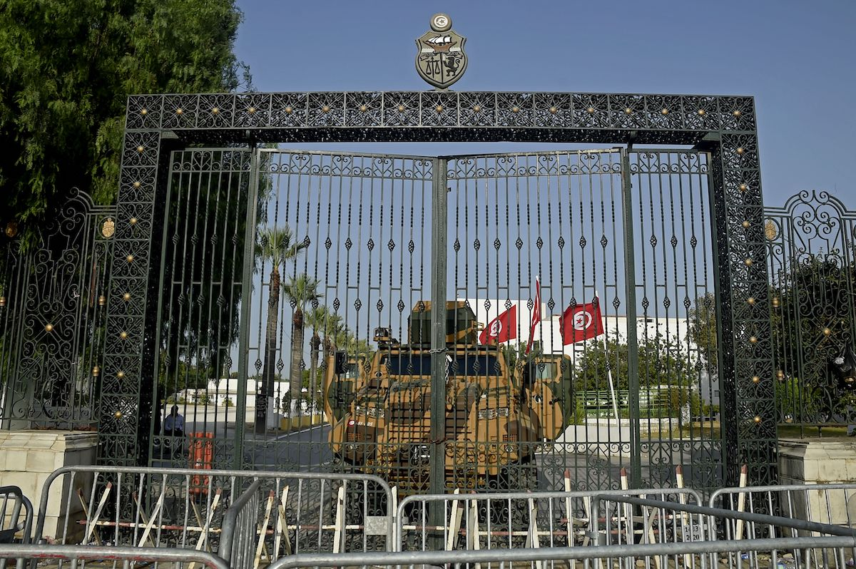 Tunisian army barricade the parliament building in the capital Tunis on 26 July 2021, after the president dismissed the prime minister and ordered parliament closed for 30 days. [YASSINE MAHJOUB/AFP via Getty Images]
