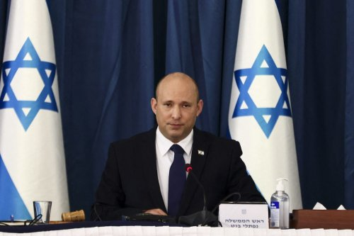 Israeli Prime Minister Naftali Bennett speaks at the weekly cabinet meeting in Jerusalem, on 8 August 2021. [RONEN ZVULUN/POOL/AFP via Getty Images]
